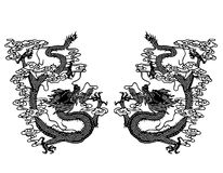 Double Chinese dragon paper cut  Stock Photo