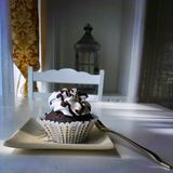 Double Chocolate Brownie Cupcake. In a very nice white setting to pop the beautiful chocolate color Stock Photos