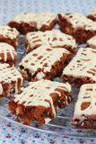 Double chocolate brownies or cake bars Stock Photos