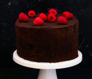 Double chocolate cake. Double layered Eggless chocolate cake made for parties and festivals stock photo