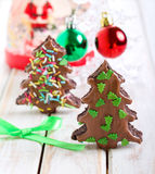 Double chocolate christmas trees Royalty Free Stock Photography