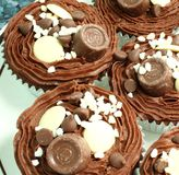 Double chocolate cup cakes Royalty Free Stock Photos