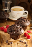 Double chocolate muffins with raspberry Stock Photo