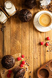 Double chocolate muffins with raspberry Royalty Free Stock Image