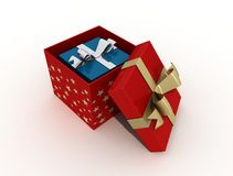 Double christmas box. Blue box in a red christmas box  -digital artwork Royalty Free Stock Image