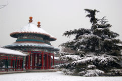 Double-circle pavilion. In the temple of heaven park, Beijing China. shot after snow. The pavilion was originally built in 1741 by Emperor Qian Long to Stock Images