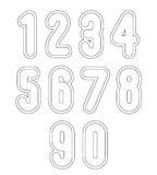 Double clear delicate line retro numbers set, vector light digit Royalty Free Stock Photo