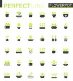 Double color Black green classic House plants and flowers in Flowerpots icons set. Royalty Free Stock Photos