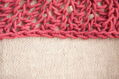 Double color combination, burgundy and beige knitting wool textured background Stock Photos