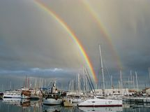 A double colorful rainbow in Betina Stock Image