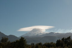 Double Cones of the Villarica Volcano in Chile Stock Photo