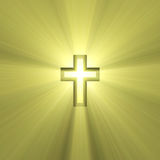 Double cross sign holy light flare. Spiritual double cross symbol (cross in a cross) illustrated with powerful shiny sun halo. Extended flares for cropping Royalty Free Stock Photos