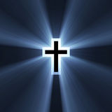 Double cross symbol blue light flare Stock Photos