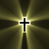 Double cross symbol light flare. Spiritual double cross sign (cross in a cross) with powerful sun light halo. Extended flares for the background cropping Stock Photography