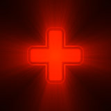 Double crosses in red light flare Stock Image