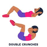 Double crunches. Double crunch. Sport exersice. Silhouettes of woman doing exercise. Workout, training. Vector illustration stock illustration