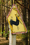 Double curve. Old road sign on a forest road near Warsaw, Poland Stock Photography