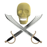 Double cutlass with skull Royalty Free Stock Photos