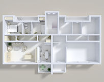 Double 3d apartment. 3d rendering of double apartment with furnishings Stock Image