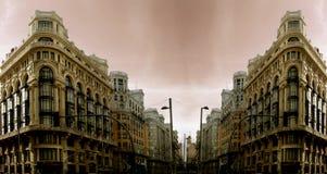 Double de construction à Madrid Photographie stock