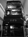 Double deck bus in black and white