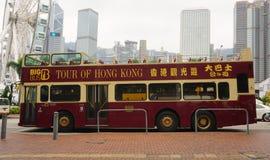 Double-deck bus running in Hong Kong Stock Photos