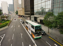 Double-deck bus running in Hong Kong Stock Photos