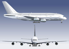 Double-deck Lagest Jetliner. Detailed vector illustration with windows and cockpit of passenger jet. Included clipping path. Avalable EPS-8 Royalty Free Stock Photography