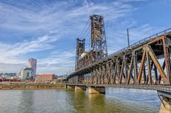 Double deck Steel bridge Portland, Oregon Royalty Free Stock Images