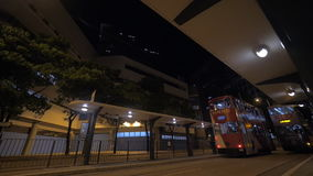 Double-deck trams in Hong Kong at night stock video footage
