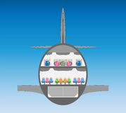 Double deck Wide body Airplane Cross section Stock Photography