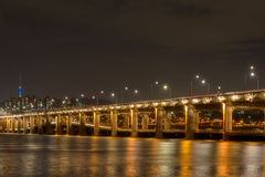 Double-decked bridge at night Stock Photo
