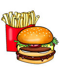 Double decked burger and fries vector illustration