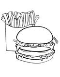 Double decked burger and fries Royalty Free Stock Photos
