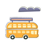 Double Decked Public Transport Yellow Bus, Cute Fairy Tale City Landscape Element Outlined Cartoon Illustration Stock Photo