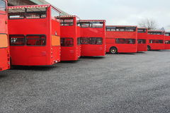 Double decker. Red double decker buses on parking area, Hamburg, Germany Stock Photos