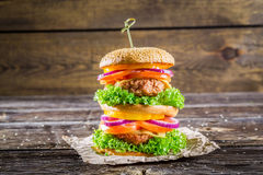 Double-decker burger made from vegetables and beef Stock Images