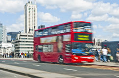 Double decker bus. Intentionally motion blurred image of a double decker bus in London Stock Photo