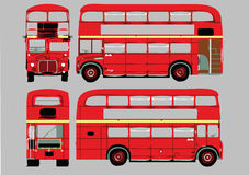 Double-decker bus. Illustration of four different versions and angles of a red English double-decker bus.  Isolated against a gray background Royalty Free Stock Photos