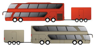 Double decker bus with attached trailer Stock Photo