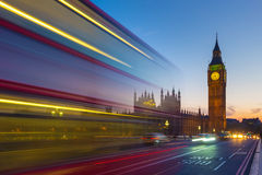 Double Decker bus with the Big Ben at blue hour, London, UK Stock Photography