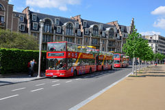 Double Decker Bus in Brussels, Belgium. Red color tourist bus Stock Image