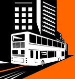 Double decker bus with buildin. Illustration on land travel and transport industry Royalty Free Stock Photo