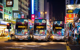 Double Decker bus. Double decker on the busy streets of Mong KoK,  Kowloon, Hong Kong, China Royalty Free Stock Image