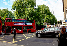Double-decker bus at the center of London Stock Image