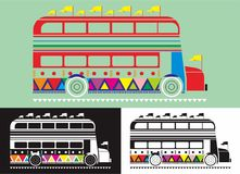Double-decker bus. Colourfully with flag Stock Photos