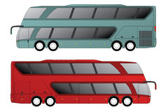 Double decker bus with double axle in front and rear Stock Photography