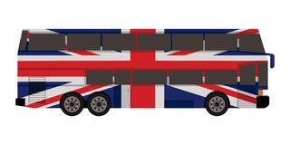 Double decker bus. With great britain flag color Stock Photos