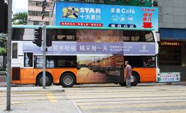 Double-decker bus in Hong Kong. Royalty Free Stock Photos