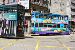 Double decker bus in Hong Kong. HONG KONG - Double decker bus in the street in Hong Kong. Hong Kong was part of the British Crown until 1997 Stock Image
